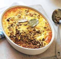 South African bobotie: spiced beef mince with apples, sultanas, mango chutney and savoury custard South African Dishes, South African Recipes, Africa Recipes, South African Bobotie Recipe, Asda Recipes, Oven Recipes, African Salad, Salted Caramel Fudge, Salted Caramels