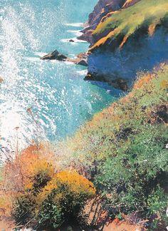 Over to Berry Head  - Richard Thorn - watermedia