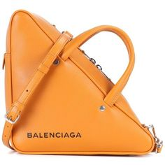 Balenciaga Triangle Duffle Leather Tote ($1,390) ❤ liked on Polyvore featuring bags, handbags, tote bags, bags., orange, totes, man bag, orange leather tote, orange leather tote bag and purse tote