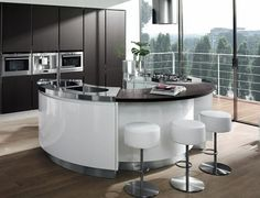 runde kücheninsel schwarz weiß von salvarani