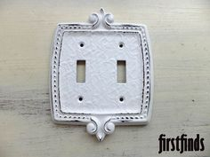 1 Shabby Chic White Electrical Switch Plate Cover by Firstfinds