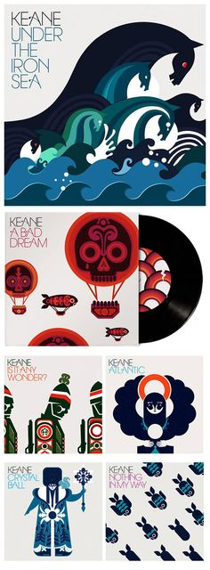 Keane's second studio album and another fantastic album cover and music series from Big Active. Illustrator Sanna Annukka did a great job with all the subsequent single releases    http://sleevage.com/keane-under-the-iron-sea/  http://www.sanna-annukka.com/