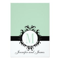"Mint Green Monogram Wedding Invitation 5"" X 7"" Invitation Card"