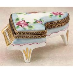 Limoges - Blue Floral Piano