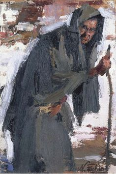 Artwork by Nicolai Fechin, Old Woman with Walking Stick, Made of oil on canvas