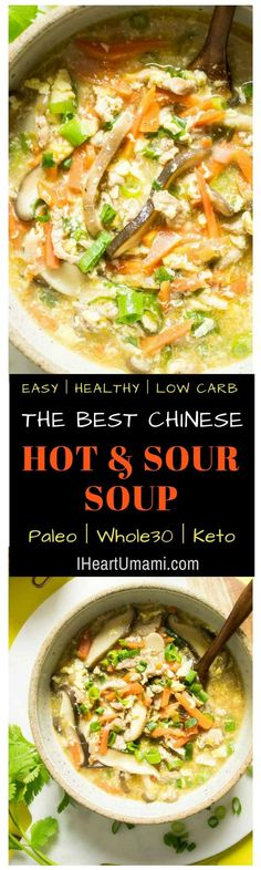 Paleo Hot and Sour Soup (Whole30, Gluten-Free). Easy and healthy authentic Chinese Paleo Hot and Sour Soup recipe with loads of fresh vegetables, savory minced meat, and shiitake mushrooms in rich chicken broth. This gluten-free Chinese Paleo Hot and Sour Soup is low carb, Whole30, Keto, and AIP, packed with bold flavors and easy healthy delicious ! #Iheartumami #hotandsour #soup #Chinese #Easy #Healthy #authentic #glutenfree #notofu #keto #lowcarb #paleo #Whole30  via @iheartumami