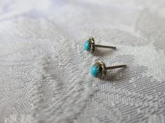 Earrings Silver and Turqoise  Studs by QualityNotQuantity on Etsy, $8.99