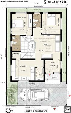 Duplex Floor Plans, House Floor Plans, Hall Design, Bed Design, 30x50 House Plans, Beautiful House Plans, Model House Plan, Narrow House, Duplex House