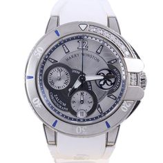Harry Winston Ocean Sport Chronograph Zalium Stainless Diamond Watch 049364