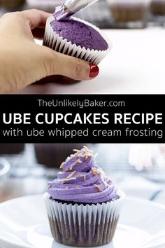 Ube Cupcakes Recipe - The Unlikely Baker - Easy and Delicious Recipes for the Home Baker - Filipino desserts Ube Cheesecake Recipe, Ube Cupcake Recipe, Ube Dessert Recipe, Cupcake Recipes, Dessert Recipes, Ube Mochi Recipe, Filipino Desserts, Asian Desserts, Recipes