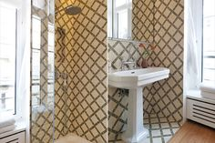 A sink and shower room in olive and cream bamboo tiles from Popham Design with a fabulous 10-inch rainshower