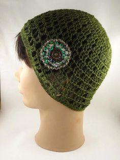 Olive Green Crochet Hat  Open Work Beautiful by ToppyToppyKnits, $23.00 #hmcspooky #handmadebot #boebot