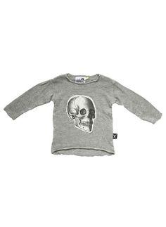 Nununu Skull Patch Sweater in Melange Grey