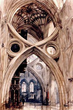 Art -  Realism - Paul Dmoch - Arc Ciseaux, Cathédrale de Wells, Angleterre - Aquarelle 71 x 49