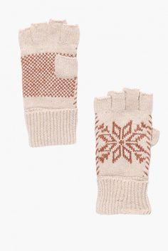 Snow Flake Fingerless Gloves in Beige | Necessary Clothing