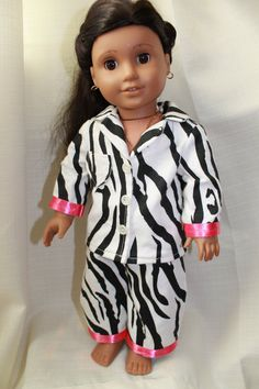 American Girl Doll Clothes  pajamas in zebra by HopscotchSundae