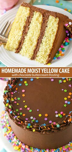The best Moist Yellow Cake with Chocolate Frosting! The best Moist Yellow Cake with Chocolate Frosting! Yellow Cake With Chocolate Frosting Recipe, Chocolate Frosting Recipes, Chocolate Icing, Easy Moist Chocolate Cake, Chocolate Buttercream Cake, Chocolate Bourbon, Strawberry Frosting, Strawberry Desserts, Brownie Desserts