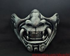 Half cover Knight Samurai Mask, Airsoft mask, Halloween Costume Cosplay Steampunk Wall Mask, Hannya Kabuki Evil Demon Onimaru Mask MA229