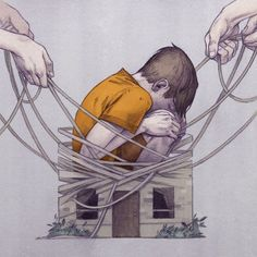 """The breathtaking illustrations of Ashley Mackenzie. """"Spot illustration for Canadian Lawyer magazine about a ruling which determined that legal battles between parents can lead to family violence. Art And Illustration, Street Art, Deep Art, Sad Art, Expo, Grafik Design, Illustrators, Concept Art, Art Drawings"""
