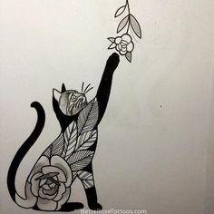 Best Geometric Tattoo - Rose cat tattoo design by Betty Rose #BettyRose #cat #kitten #rose #flower (Phot...