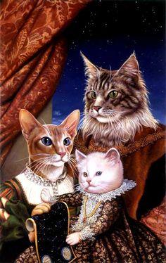 cat family elegant stock art