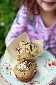 Healthy Dark Chocolate-Coconut-Macadamia Nut Banana Muffins YUM