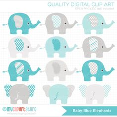 Baby Blue Elephants / Blue and Grey Clip Art / Digital Clipart - Instant Download
