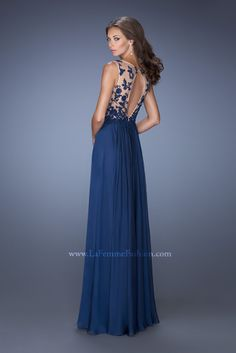 La Femme 19788 - prom dress - navy prom dress - prom dress with open back - prom dress with lace bodice - prom dress with jewel encrusted lace bodice - prom dress with V neck - long chiffon and lace prom dress - prom dress with sheer lace straps