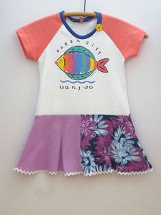 Upcycled OOAK Eco Friendly Girl Size 3 T Shirt by TwoSweetMamas, $33.00