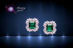 Silver Jewelery Emerald, Diamond Earrings, Diamonds, Jewelry Design, Bling, Jewellery, Sterling Silver, Amazing, Ear Rings