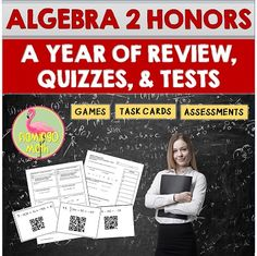 """Huge Savings! Here is a giant """"BUNDLE of BUNDLES"""" for students enrolled in ALGEBRA 2 HONORS. The lessons and activities are aligned to the CCSS and Florida Math Standards. There are more than 200 days of instructional content for you need to prepare your students. Daily quizzes, mid-unit, end-unit reviews, assessments, activities, task cards, station activities, and so much more."""