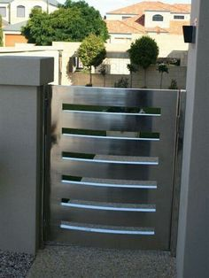 Amazing Modern Home Gates Ideas 24 image is part of 60 Amazing Modern Home Gates Design Ideas gallery, you can read and see another amazing image 60 Amazing Modern Home Gates Design Ideas on website Steel Gate Design, Iron Gate Design, House Gate Design, Door Design, Gate Designs Modern, Modern Fence Design, Metal Driveway Gates, Balcony Railing Design, Canopy
