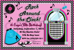 fifties party invitations | Retro 1950s Style Rock Around the Clock Party Invitation Personalized ...