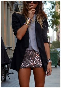 Not sure if this is a skirt or not- but I love this look! Of course I would add a few inches (or more lol!) to the skirt, but I love a sequin skirt with a plain tee and black blazer! So chic...