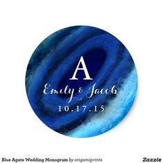 Shop Blue Agate Wedding Monogram Classic Round Sticker created by origamiprints. Bachelorette Party Invitations, Blue Wedding Invitations, Rustic Blue, Wedding Stickers, Monogram Wedding, Watercolor Wedding, Round Stickers, Elephant Gifts, Custom Stickers
