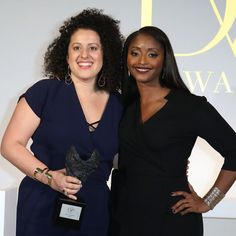 People's Voice Award winner Emily Greener and presenter Isha Sesay.