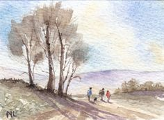 ACEO Miniature Card Original Watercolour - Four on a Walk - English Countryside
