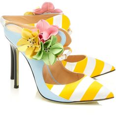 Giannico  Flower Embellished Shoes ($725) ❤ liked on Polyvore featuring shoes, blossom shoes, blue stilettos, yellow shoes, blue leather shoes and decorating shoes