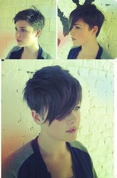 Before and after-long hair to pixie!She looks adorable. Nice Short Haircuts, Cute Haircuts, Funky Hairstyles, Short Hair Cuts, Short Hair Styles, Pixie Cuts, New Hair, Your Hair, Corte Y Color