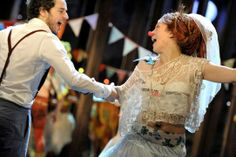 Alex Waldmann as Orlando and Rosie Hilal as Audrey in As You Like It. Photo by Keith Pattison