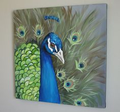 Peacock 18x18 square original canvas painting by BirdsinHand, $150.00