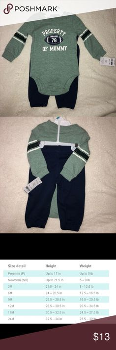 *New with tags* Carter's Baby Boy Matching Set New with tags. Never worn. Sized 6months. Long sleeve shirt and sweatpants. Shirt has a athletic distressed look. See size chart for measurements. Carter's Matching Sets
