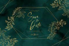 Elegant wedding invitation with golden f... | Free Vector #Freepik #freevector #frame #wedding #watercolor #wedding-invitation