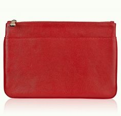 soft red leather clutch