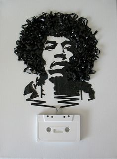 Ghost in the Machine: Jimi Hendrix    Ghost in the Machine: Jimi Hendrix out of cassette, commission, 2009  (cassette is real, no paint, no photoshop)