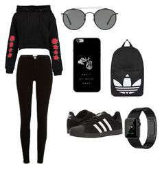"""Yasssssssss"" by carmunch01 on Polyvore featuring Boohoo, River Island, adidas, Ray-Ban and Topshop"