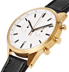 Uniform Wares Chronograph Stainless Steel And Leather Watch In White Uniform Wares, Swiss Made Watches, Stainless Steel Case, Chronograph, Quartz, Black Leather, Mens Fashion, Jewels, Accessories