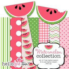 watermelon digital papers and clipart collection by hellolovetoo Watermelon Birthday Parties, First Birthday Parties, First Birthdays, Birthday Ideas, Digital Paper Free, Free Paper, Digital Papers, Paper Scrapbook, Scrapbooking