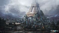 Another artwork for the faith RPG. After a disaster in paris people started going back to the most recognisable landmark to try and build a new life. In the end things got pretty crowded! Now the wealthier people are living near the first floor of the eiffeltower. And poor people are gathered around the base, their makeshift buildings stretching outward.