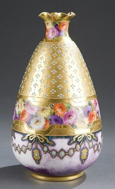 "<b>Royal Vienna style porcelain portrait vase.</b> <br  /> Pear-shaped vase with a flared neck, the front painted with a portrait of a young woman wearing a large hat, purple dress and white flowers, signed ""Wagner"". The reverse painted with a band of colorful flowers, the upper half gilded and painted with turquoise jewels. On a low, gilded foot. The base having a blue glazed beehive mark. Marked ""Incroyable. Dec: 547. Depose"". Impressed ""25"". 8 1/4""h."